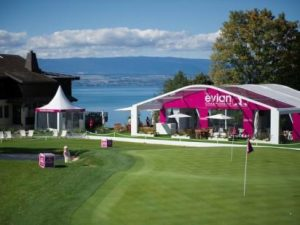 Hole #2 at Evian, a breathtaking downhill par 3